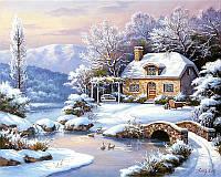 Картины раскраски по номерам 40 × 50 см. Зимний домик худ. Сунг, Ким