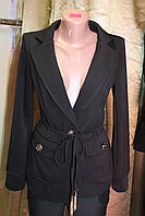 Пиджак женский удлинённый на кисточка длинный рукав черный