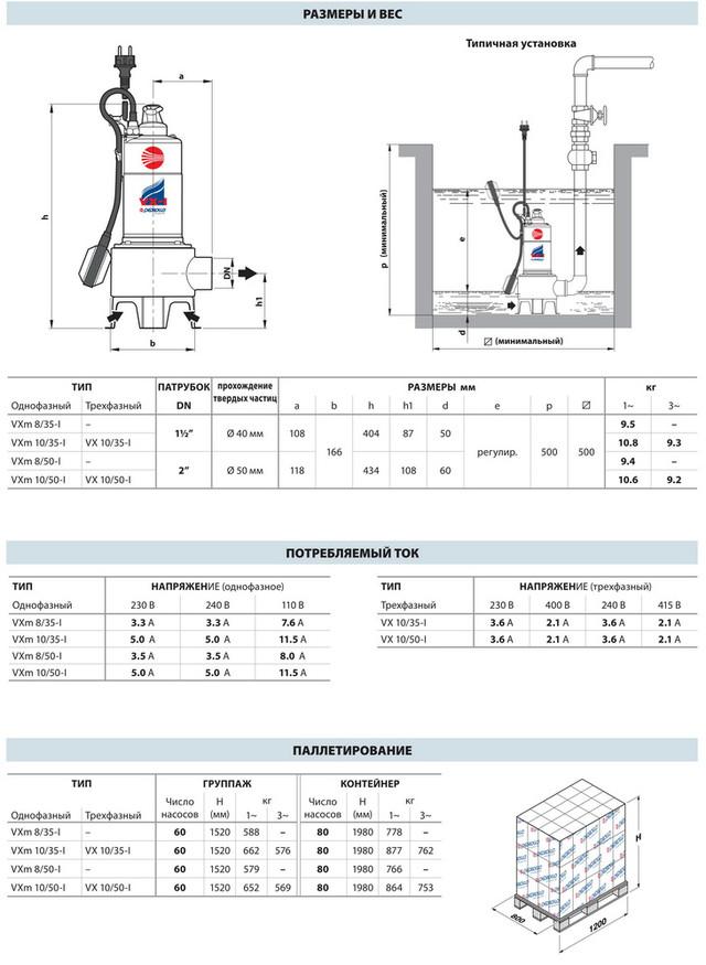 Насос, погружной, фекальный Pedrollo VXm 8/50 каб. 10 м., 550 Вт, 21 м3/ч, 6 м