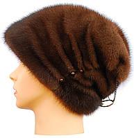Меховая шапка норковая женская,Бритни (орех)