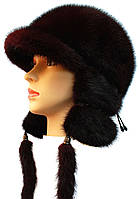 Ушанка норковая женская,Зимушка длинное ухо (вишня)