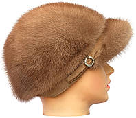 Зимняя меховая кепка,Жокейка без уха (пастель)
