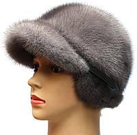 Меховая норковая кепка,Жокейка классика (серая)