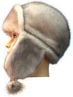 Зимняя шапка ушанка норковая,Зима Лобик (колотый лед)