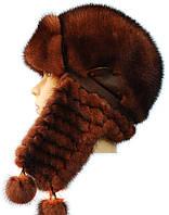 Зимняя меховая шапка,Зима плетеное ухо (терракот)
