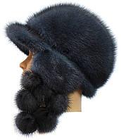 Зимняя меховая ушанка женская,Зима Виноград (ирис)