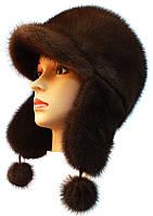 Зимняя шапка ушанка норковая,Зимушка (орех)