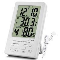 Домашний термо-гигрометр кт-905, с часами, будильником, календарем, наружным термодатчиком, питание 1*ааа