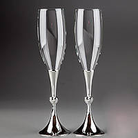Свадебные бокалы на металлической ножке с сердечками , красивые и оригинальные бокалы