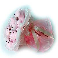 Букет из мягких игрушек Мишки 7 розовые в белом