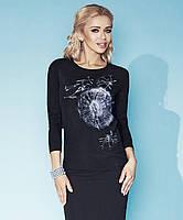Женская кофточка из вискозы черного цвета с рисунком одуванчик. Модель Wendy Zaps, осень-зима 2015.