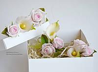 Свадебный комплект с каллами (шпильки, бутоньерка, браслет)