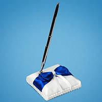 Свадебная ручка на подставке с синим атласным бантом, ручки для свадебной росписи