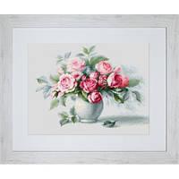 """Набор для вышивания нитками """"Этюд с чайными розами"""""""