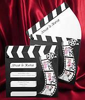 Пригласительные на свадьбу в виде кинохлопушки для съемок, свадебные приглашения, печать текста, заказать