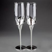 """Свадебные бокалы """"Каллы"""" на металлической ножке, красивые и оригинальные бокалы"""