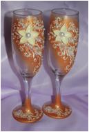 Свадебные бокалы золотые цветы