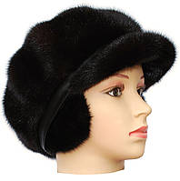 Зимняя кепка норковая,Мальвина (черная)