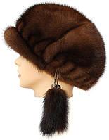 Женская меховая кепка норковая,кепка резаная (орех)