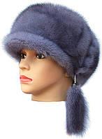 Норковая женская кепка,кепка ровная (серо-голубая)