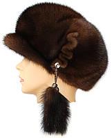 Норковая кепка женская,кепка ровная (орех)