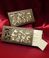 Пригласительные в коробочке с золотыми узорами и камнем, свадебные приглашения, печать текста