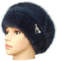 Меховая шапка женская,Ника 2 на трикотаже (ирис)