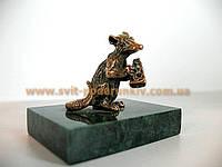Оригинальный сувенир, бронзовая фигурка Крыса с сыром