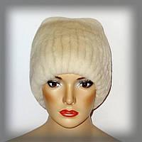 Меховая женская шапка из кролика рекс (песочный цвет)