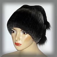 Меховая женская шапка из кролика рекс (тёмно серая)