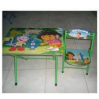 Стол и стул детский раскладной с металлическими ножками Даша Путешественница DT 19-18