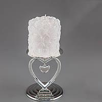 Свадебная свеча в розочках с серебристым напылением