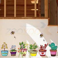 """Наклейка на стену, наклейка цветок, наклейки на шкаф """"Цветы в горшках"""" (лист 50*70см) наклейки на окна"""