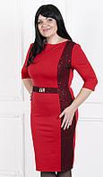 Красное платье с гипюром и пайетками