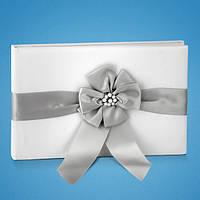 Свадебная книга для пожеланий с серой атласной лентой и бусинками