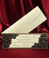 Пригласительные с узором из темно-коричневого велюра, красивые свадебные приглашения