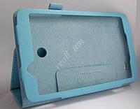 Голубой кожаный чехол-книжка для планшета LG G PAD 7 V400