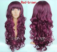 Модный парик, длинные вьющиеся волосы, парик на каждый день, парик косплей, цвет - красное вино