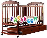 Детская деревянная кроватка Наталка (темная с ящиком)