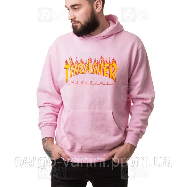 Thrasher Pink мужская худи • Бирка топовая • Трешер розовая толстовка