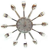 Часы Ложки-Вилки серебро 40х40 см