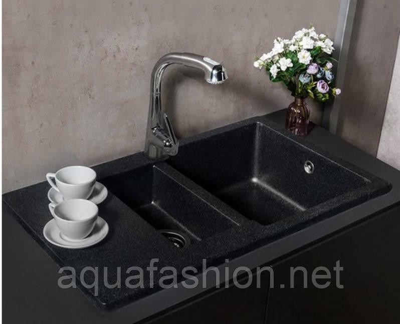 Гранітна мийка з додатковою чашею світло-чорна Fancy Marble 80 см LaPas