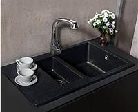 Гранітна мийка з додатковою чашею світло-чорна Fancy Marble 80 см LaPas, фото 1