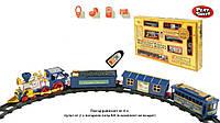 Железная дорога 0620 (24шт) на батарейках р/у,  муз.,  свет.эффекты,  поезд,  3 вагона,  в кор. 53*31*7см
