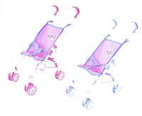 Коляска для куклы-тросточка Baby Born 9302W-BB 2 вида, металл, плотная ткань поворот/передние колёса, в пакете 73*18 см.