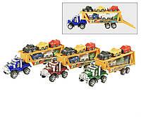 Трейлер машина-транспортер инерционный2188 (72шт/2) 2-х этажный,  6 машинок,  под слюдой 33 см.