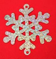 Пайетка снежинка серебристая голографическая, диаметр 6,3 см, 1 шт., фото 1