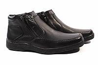 Ботинки мужские Konors стильные, натуральная кожа, цвет черный (платформа, комфорт, зима, Украина)