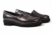 Туфли женские Mario Muzi натуральная кожа, сатин, цвет темно-серый перламутр (каблук, Турция)