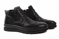 Ботинки мужские Cosottinni натуральная кожа, цвет черный (платформа, комфорт, зима)